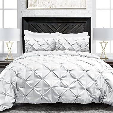 Sleep Restoration Pinch Pleat 3-Piece Luxury Goose Down Alternative Comforter Set - Premium Hypoallergenic All Season Pintuck Style Duvet Set -Full/Queen - White