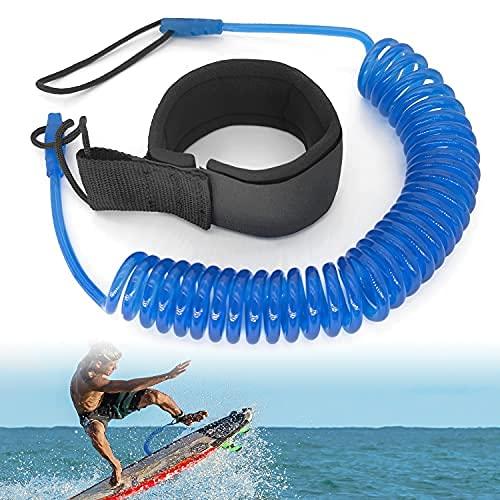 JEEZAO Leash de Tabla de Surf de 10 pies Correa de Surf TPU,Cuerda para Pierna para Kayak,Tabla de Paddle de pie,Correa Espiral Seguridad de Tobillo (Azul)