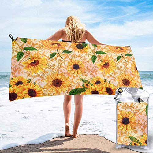 FETEAM Toallas de Playa de Secado rápido con Bolsillo, Girasoles Amarillos Toalla de Viaje al Aire Libre para baño de Piscina sin Arena Suave para Acampar, Nadar, Practicar Yoga, Deportes