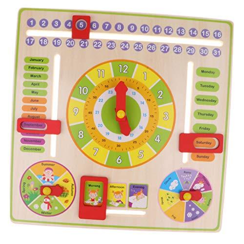 B Blesiya Juguete Montessori Calentario Reloj de Madera Juego Edcuativo para Niños de 3+ Años