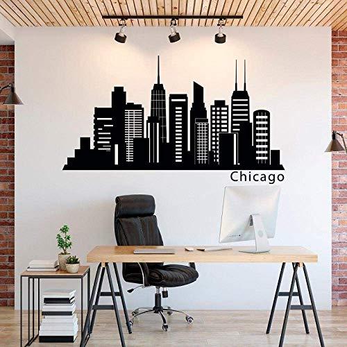 Chicago City Silhouette Vinyl Wandaufkleber Chicago Skyline Office Home Schlafzimmer Wohnzimmer Dekoration Wandtattoo 99X57Cm