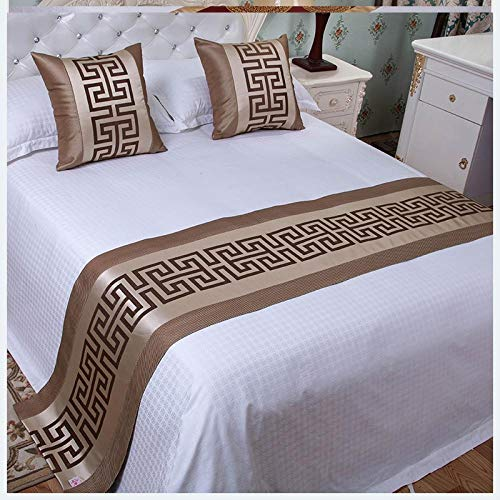 YYSWIM Bed Runner Scarf Bed Flag European star hotel, simple modern bed flag, bed end towel, table towel bed cover, cloth mattress & Golden green