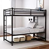 Twin Over Twin Bunk Bed Frame,Metal Bunk Bed with Storage,Heavy Duty Space-Saving Design,Easy Assembly with Thicken Safety Guard Rails & 2 Side Ladder for Adults Children Teens