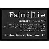 SpecialMe® Fußmatte mit Namen Defintion Familie personalisierbar mit Vornamen und Familienname rutschfest & waschbar weiß 60x40cm
