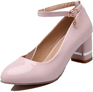 VogueZone009 Women's Buckle Round-Toe Kitten-Heels PU Solid Pumps-Shoes
