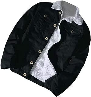 Men Warm Denim Lapel Neck Faux Fur Lined Fleece Faded Jacket Parka Coat
