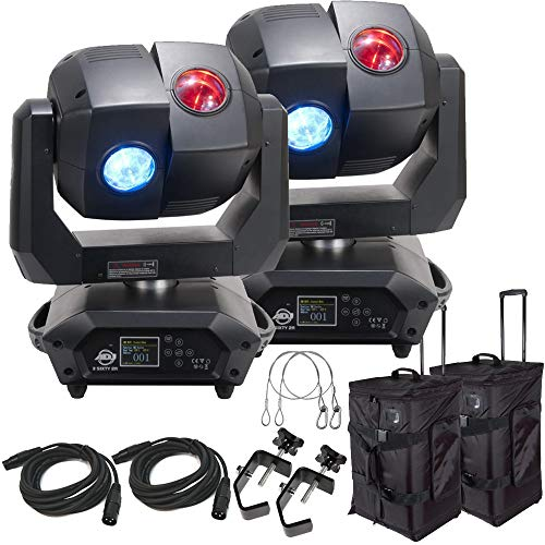 American DJ 3 Sixty 2R Dual Moving Head Lights (2) with DMX Cables (2), Arriba Rolling Bags (2), Heavy Duty C-Clamps (2), & 24 Inch Safety Cables (2)