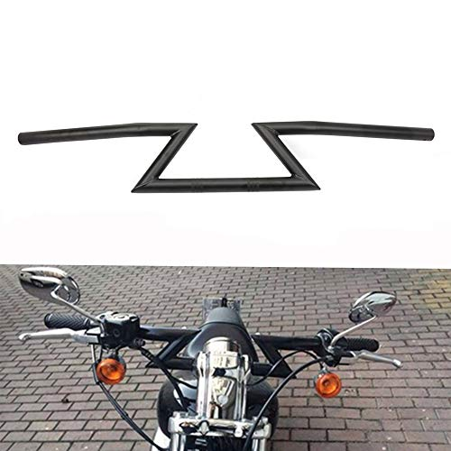 Manillar universal de 22 mm de JFG Racing para Harley Sportster Cruiser XL 883 1200, Chopper Softail Dyna y Street Bob (color negro)