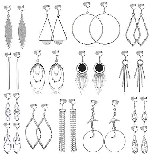 15 Pairs Wholesale Clip on Earrings for Women Fashion-Celtic Knot Earrings,Long Bar Earrings,Tear Drop Earrings Clip on Hoop Earrings for Women-Clipon Earrings for Women and Teen Girls