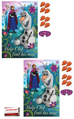 (2 Pack) Disney Frozen Pin The Nose on Olaf Game (Plus Party Planning Checklist by Mikes Super Store)