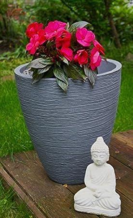 MS Beschl/äge Blumenk/übel Blumentopf Pflanzeinsatz aus Kunststoff /ø 40cm Verschiedene H/öhen in Hellgrau 32cm