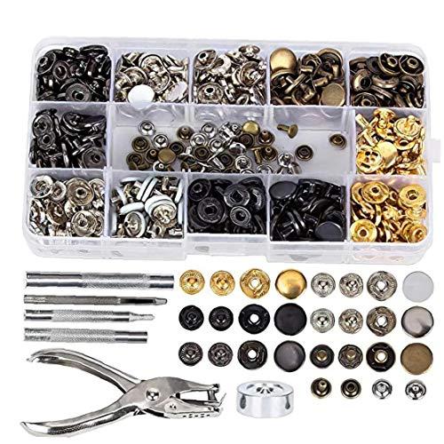 Conjunto de metal broche de presión del remache DIY herramienta sujetador del remache de fijación Kit de herramientas para reparaciones Hombres Mujeres Decoración hecha a mano 286PCS Herramientas