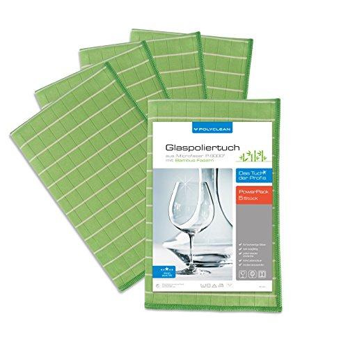 POLYCLEAN 5x Bambustuch – Glas-Poliertuch mit Bambusfasern – Fenstertuch für Glas und Scheiben - Streifenfreies Trockentuch (60x40 cm, 5 Stück)