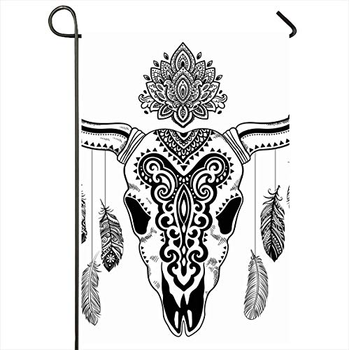 Onete Garden Flag 28x40 Inches Longhorn Tribal Animal Skull Ox Wildlife Mexican Head Tattoo Western Buffalo Feather Cattle Flower Outdoor Seasonal Home Decor Welcome House Yard Banner Sign Flags