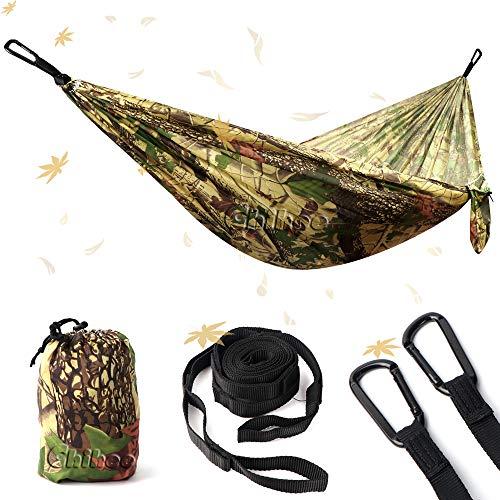 NATUREFUN Ultraleichte Reise Camping Hängematte Für Draußen Drinnen Garten (275 x 140 cm, Forest Camouflage)