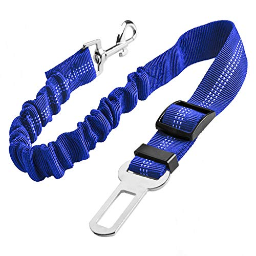 Upgraded Dog Seat Belt, Adjustable Pet Car Harness for Small Medium Large Dogs and Cats, Durable Reflective Pet Vehicle Safety Belt, with Elastic Nylon Buffer, Perfect for Travel and Daily Use (Blue)