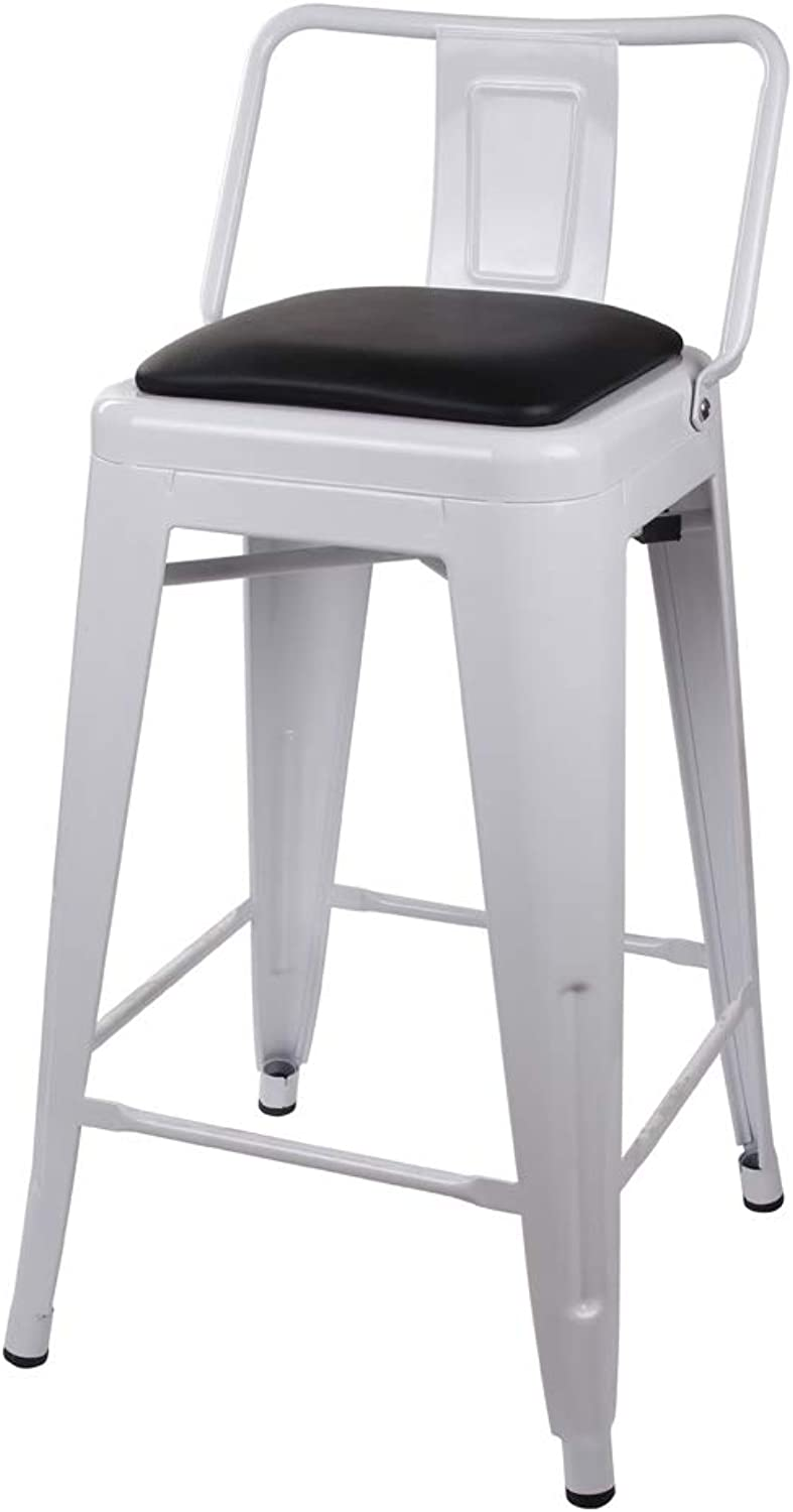 GIA Low Back Metal Barstool with Black Leather Cushion 24  Counter Height(1 Pack) - Cream White - Light Weight Easy Assemble and Stackable