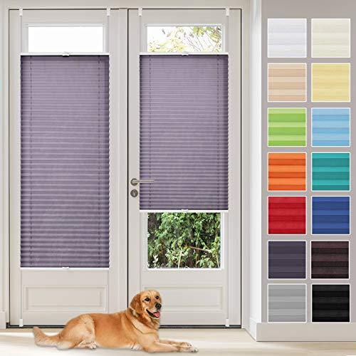 Vkele Plissee ohne Bohren klemmfix Jalousie (Anthrazit, B40cm x H130cm) Faltrollo Sichtschutz und Sonnenschutz Lichtdurchlässig Rollo für Fenster & Tür