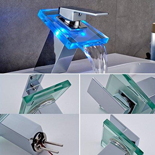 Auralum® Elegant LED RGB Glass Wasserhahn Armatur Chrom Wasserfall Waschtisch Waschtischarmatur für Bad Badezimmer Küchen 3 Farben - 2