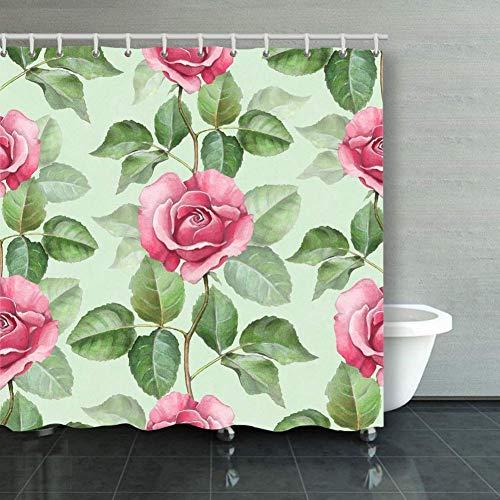 BGNHG Cortina de la Ducha Shower Curtain Watercolor Seamless Pattern R