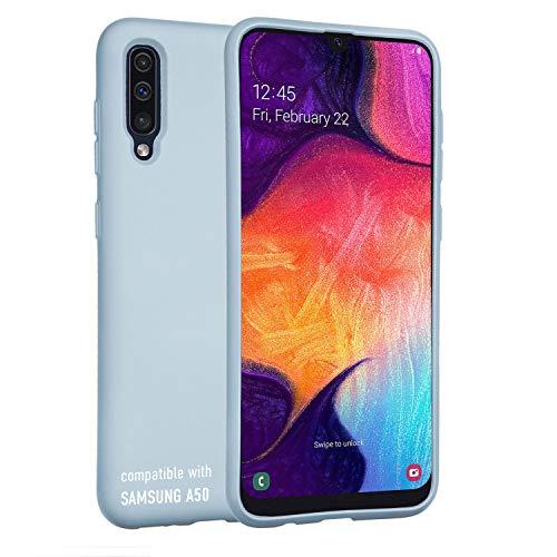 smartect Cover in Silicone per Samsung Galaxy A50 - Aderenza Perfetta - Superficie Morbida Antiscivolo - Linee Interne Morbide - Case Silicone Blu Chiaro