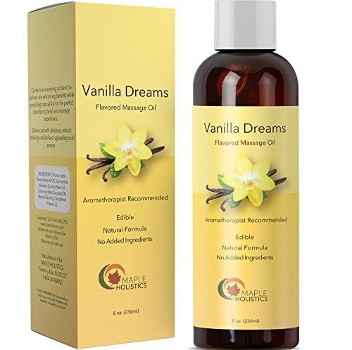 Sensual Vanilla Massage Oil for Men and Women with Pure Jojoba Sweet Almond Lavender Moisturizer Anti Cellulite Body Oil for Dry Skin Antioxidant Vitamin E for Healthy Soft Skin and Muscle Pain Relief