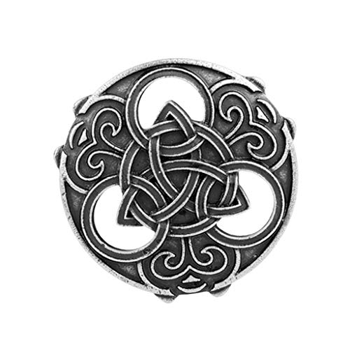 joyMerit Celtic Viking Norse Knot Brooch Pin 1.54 Inch Round Ornamental Medal Scottish Pennanular Cloak Jewelry Vikings Sweater Buckle Clasp - Silver