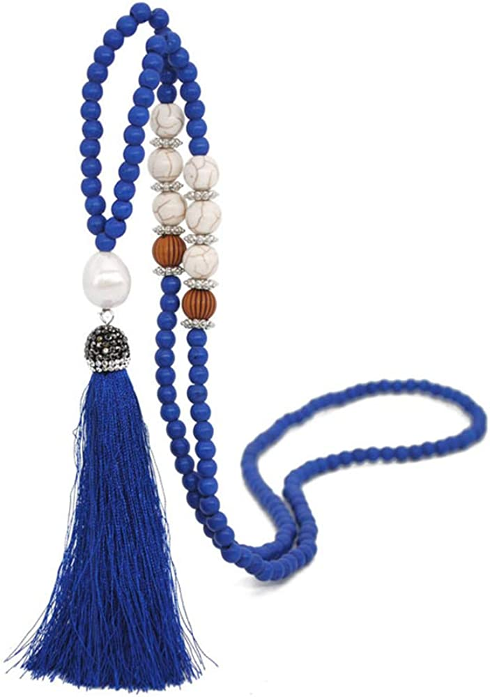 Tassel Pendant Necklace for Women Long Bead Necklace Statement Turquoise Necklace Fashion Jewelry