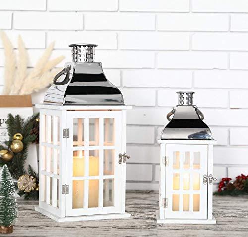 JHY DESIGN Juego de 2 faroles colgantes vintage de 45,5 cm y 30,5 cm de alto, faroles decorativos de madera y acero inoxidable para velas, interiores, exteriores, balcón, jardín, fiestas, bodas