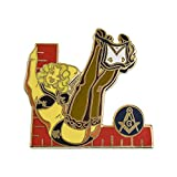 Ladies of The Lodge Blonde Pin-Up Girl Model Sexy Masonic Lapel Pin - [Red & Black][1 1/2'' Tall]