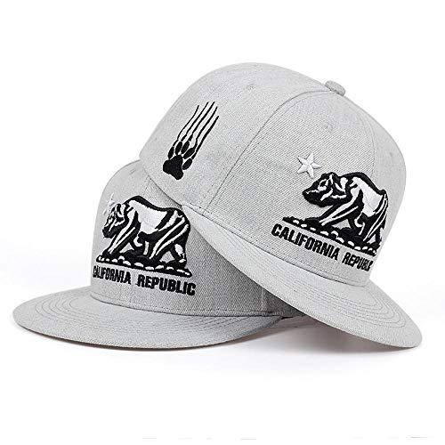 Baseball Kappe Snapback Cap HutNew California Republic Bestickte Baseballkappe Mode Flache Hysteresenkappen Außen Schatten Hip Hop Hüte Männer Frauen Universal Hut Grau