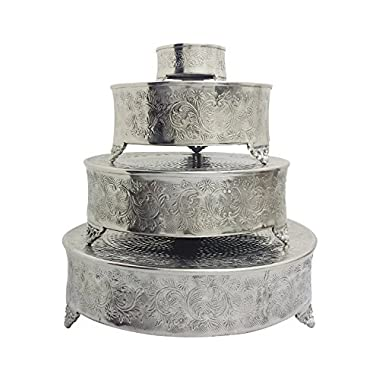 GiftBay Cake Stand Round Set of 22, 18 , 14  & 6  Silver Specifically Made for Professional Bakers and Sold With Huge Discount
