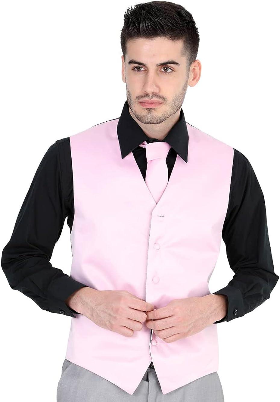 El General Men's Formal Dress Vest Color Pink 100% Polyester Five Buttons