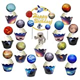 24PCS Solar System Birthday Space Cupcake Toppers and 24 Galaxy Cupcake Wrappers and 1PC Happy Birthday Cake Topper Decorations For Kids Space Party Supplies