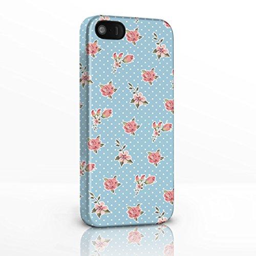 Kitsch Vintage Floral Gemustert Shabby Chic Handy Fällen für das iPhone Serie. 3D Hard Rückseite Glossy Cover für iPhone Modelle., plastik, 9. Pink Roses on Light Blue Polka Dot Background, Für iPhone 5 / 5S