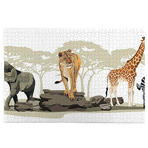 KIMDFACE Puzzle Jigsaw 1000 pezzi per gli adulti,Illustrazione Di Savane Selvatiche Animali Africani Esotici Giraffa Leone Elefante Zebra,gioco familiare,festa aziendale,regalo per amore e amico