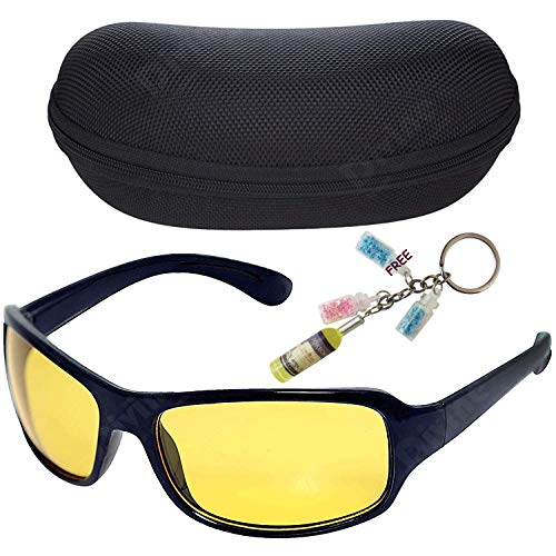 Divine Night Driving Vision Anti-Glare Glasses with Zipper Case and Keychain