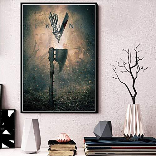zhuifengshaonian Vikings Classic Tv Series Show Poster und Leinwanddrucke Gemälde Wandbilder für Wohnzimmer dekorative Vintage Wohnkultur ohne Rahmen 50x70CM 0005
