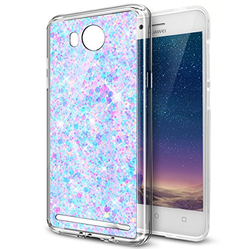 Kompatibel mit Huawei Y3 II Hülle,Huawei Y3 II Schutzhülle,Glänzend Bling Glitzer Diamant TPU Silikon Hülle Tasche Silikon Case Durchsichtig Handyhülle Case Cover Schutzhülle für Huawei Y3 II,Lila
