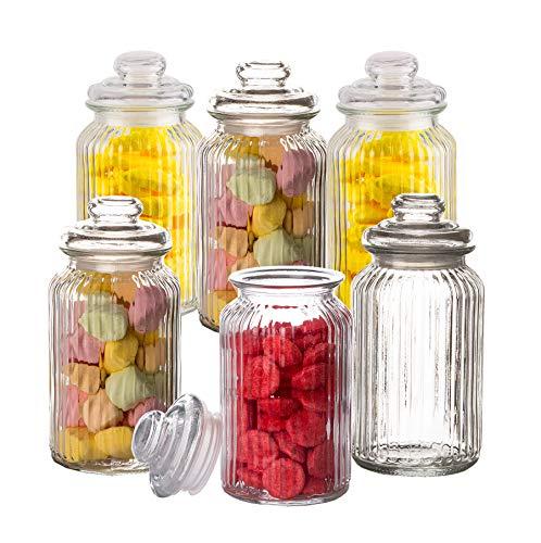 6X Bonbongläser Bonboniere 1,3 Liter - Mit Deckel - Für Süßigkeiten, Kekse, Kräuter & Gewürze - Vintage Vorratsgläser - Die idealen Helfer für Küche & Haushalt