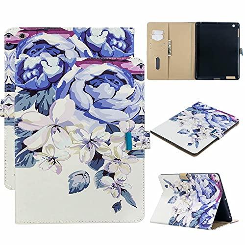 TTNAO Custodia per iPad 2 3 4 (Old Model) Premium Cover Auto Wake Sleep Cover Pelle PU Protettiva Caso Slot Carte Stand Supporto Case,Fiore blu