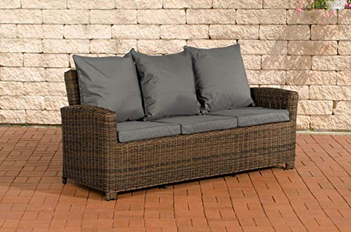 CLP Poly-Rattan 3er Sofa FISOLO aus Aluminium I Gartensofa für 3 Personen I Loungesofa mit Polsterkissen I 5mm Rattandicke, Farbe:braun-meliert, Polsterfarbe:Eisengrau