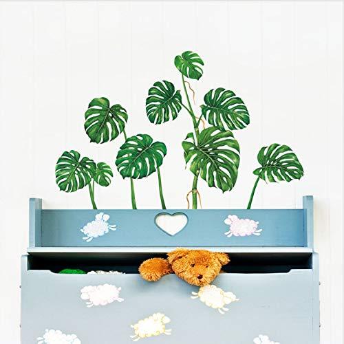 HHIAK666 Wandaufkleber Wandbild Tapete Große Grüne Blätter Smaragdgrün Pastoralen Pflanzen Wohnzimmer Studie Hintergrund Decals Poster