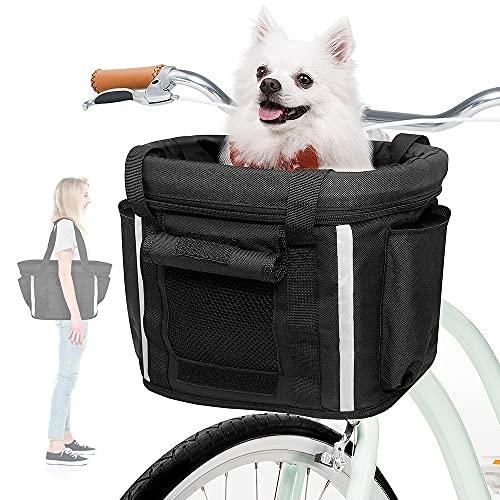 ANZOME Fahrradkorb Vorne für Hund Abnehmbar Fahrrad Korb für Damen Hundkorb mit Sicherheitsgurt