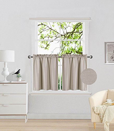 """Elegant Home 2 Panels Tiers Small Window Treatment Curtain Insulated Blackout Drape Short Panel 28"""" W X 24"""" L Each for Kitchen Bathroom or Any Small Window # R16 (Taupe)"""