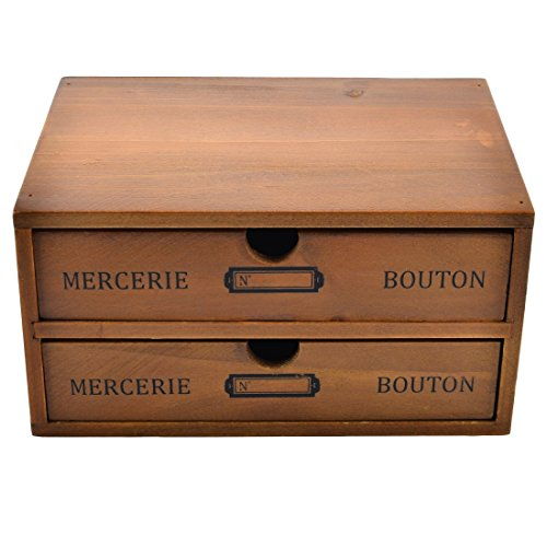 Tosbess Drawers étagère à Tiroirs - Organiseur de Bureau en Bois casier de Rangement 2 tiroirs Porte-Document pour Trier Maquillage et Accessoires,25x17,5x13cm (comme montré)