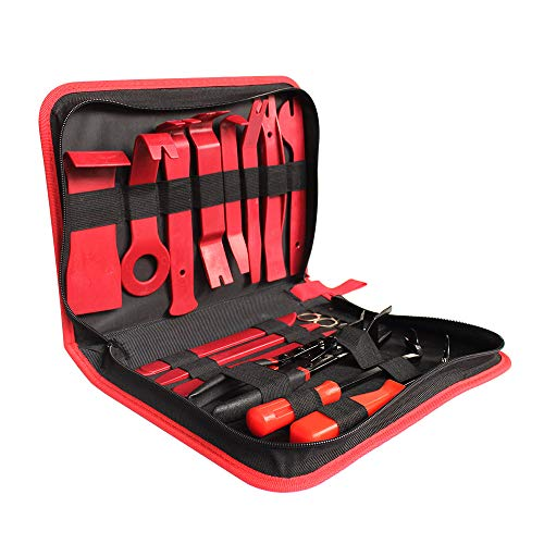 KKmoon 19 Stücke Auto Werkzeugkoffer Werkzeug Set Reparatur Werkzeug Trim Removal Tool Set Auto Autoradio Türverkleidung Clip Zangen Verschluss Entferner Hebeln Reparatur Handwerkzeug