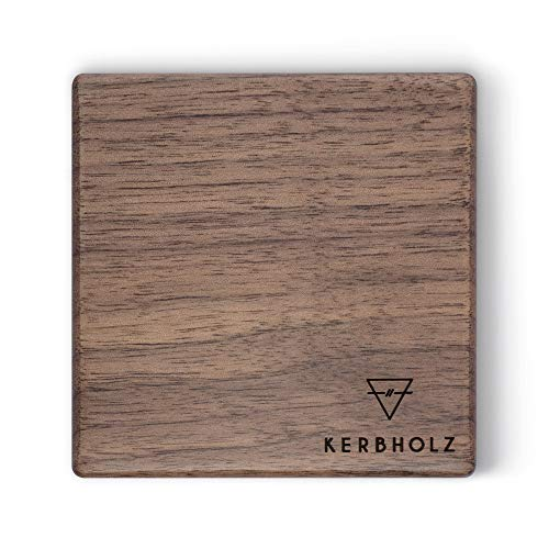 Kerbholz Holz Deko – Magnetleiste aus echtem Walnuss Holz, Multifunktional: Schlüsselbrett aus Holz, Messermagnet mit starkem Magnet, Schreibtischorganizer, Badezimmer Deko, 80mm x 80mm x 30mm