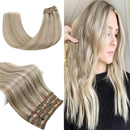 Sunny Doppelt Tressen Extensions Echthaar Clip in Aschblond mit Blond - Strähnen Blond Haarextension Echthaar Clips Glatt - Remy Voller Kopf Clip in Human Hair Extensions 7 Teile 100g 50cm