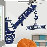 Sticker Mural 55D Personnalisé Nom Construction Grue Camion Sticker Mural Salle De Jeux Salle Des Enfants Personnalisé Nom Construction Véhicule Sticker Vinyle 122Cmwidex120Cmhigh Lumière Violet